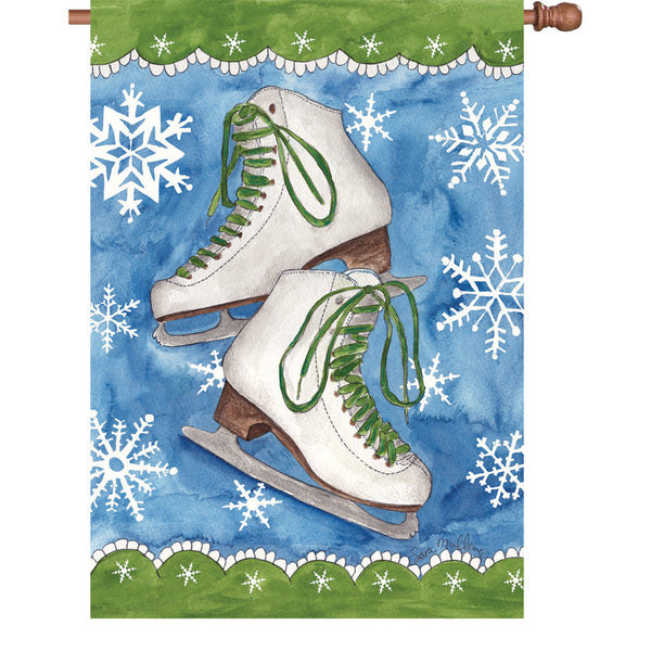 28 in. Flag - Ice Skates & Snow