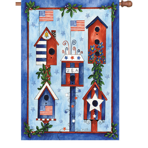 28 In Flag Red White Blue Birdhouse