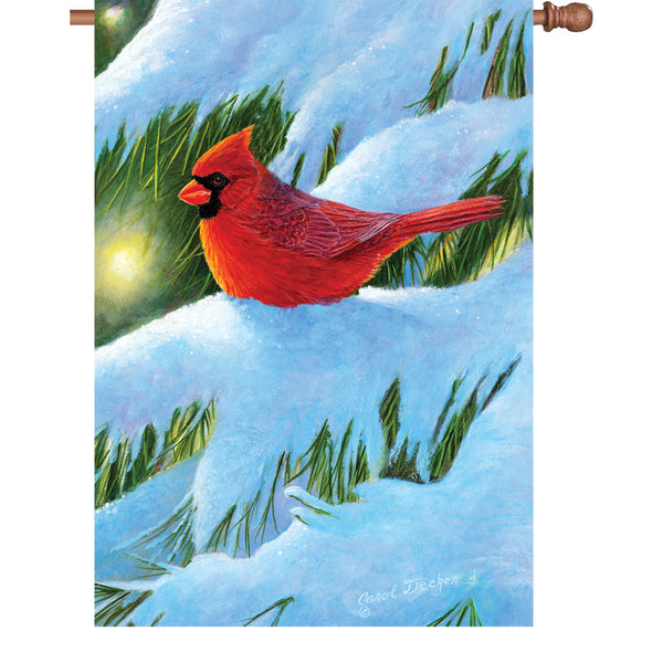 28 in. Flag - Winter Glow Cardinal