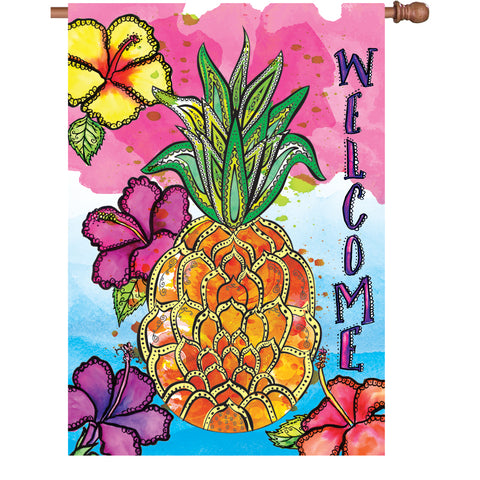 28 in. Flag - Welcome Pineapple