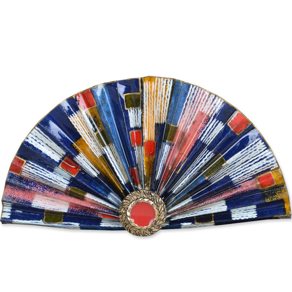 Blue/Red/Gold Fan Brooch
