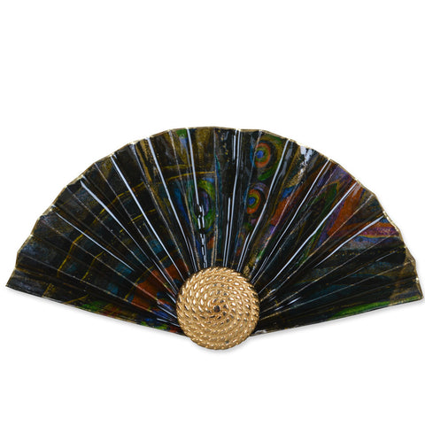 Black/Green/Mauve Fan Brooch