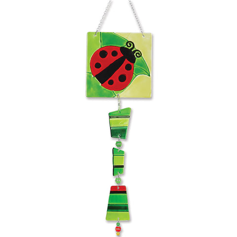 Glass Sun Catcher Mobile - Ladybug