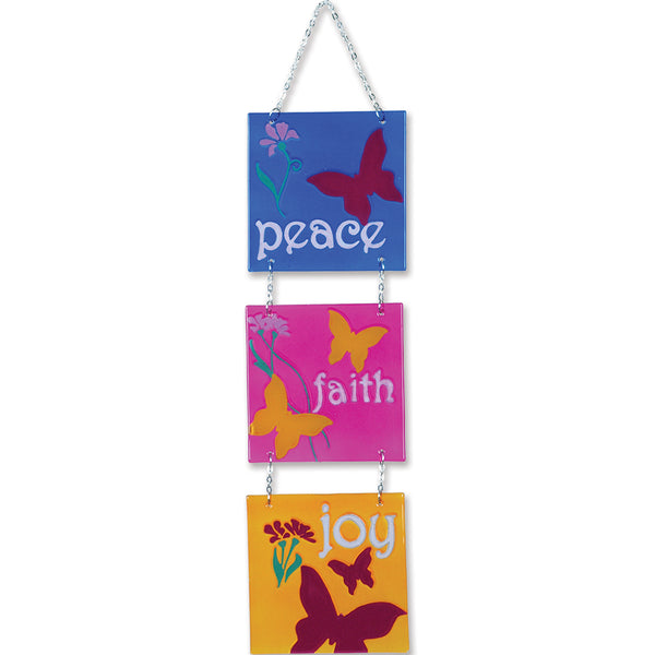 Tri-Panel Glass Expression - Peace, Faith, Joy