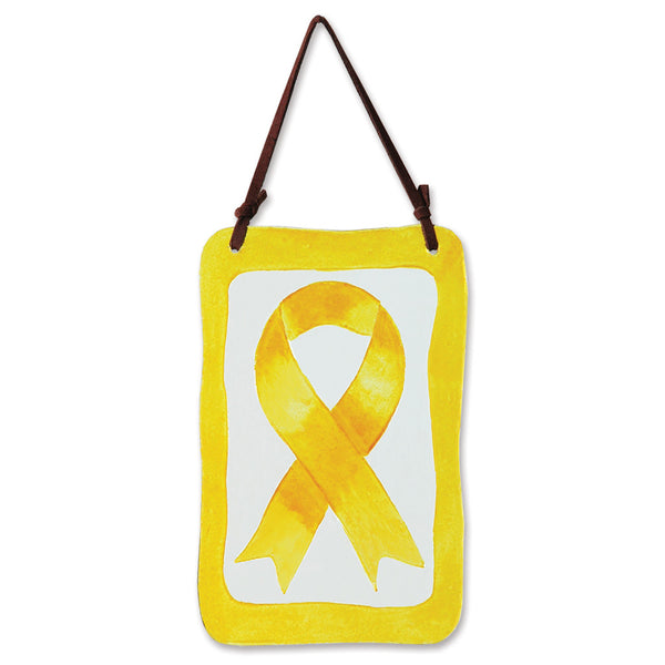 Glass Terra Wind Chime - Yellow Ribbon