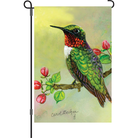 12 in. Flag - Hummingbird And Apple Buds