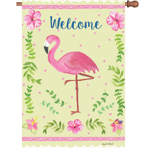 28 in. Flag - Coastal Flamingo