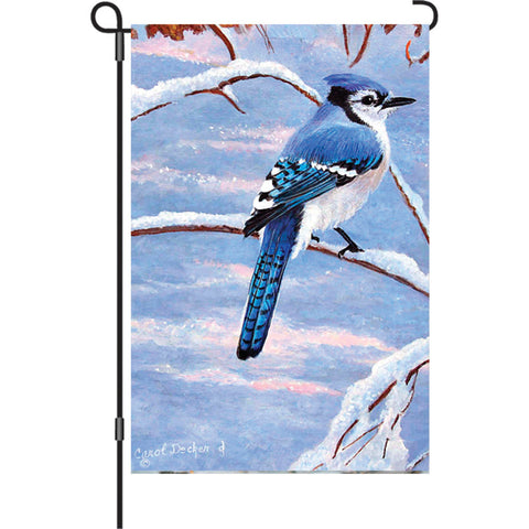 12 in. Flag - Winter Bluejay