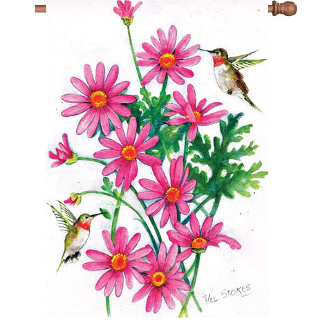 28 in. Flag - Pink Daisies