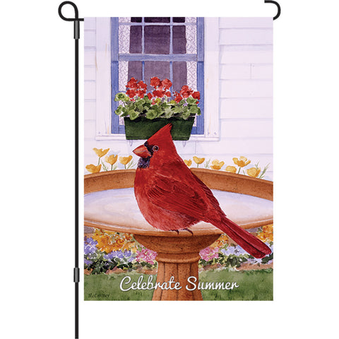 12 in. Flag - Cardinal and Geraniums