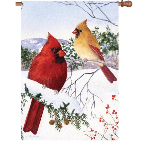 28 in. Flag - Cardinals and Hemlock