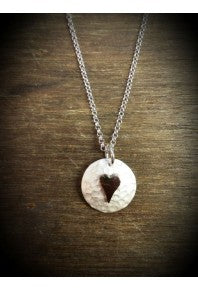 Plannished Heart Pendant Silver on Silver