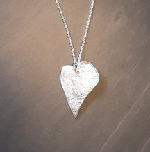 "Load image into Gallery viewer, Large Vintage heart Silver Pendant including 30"" chain"
