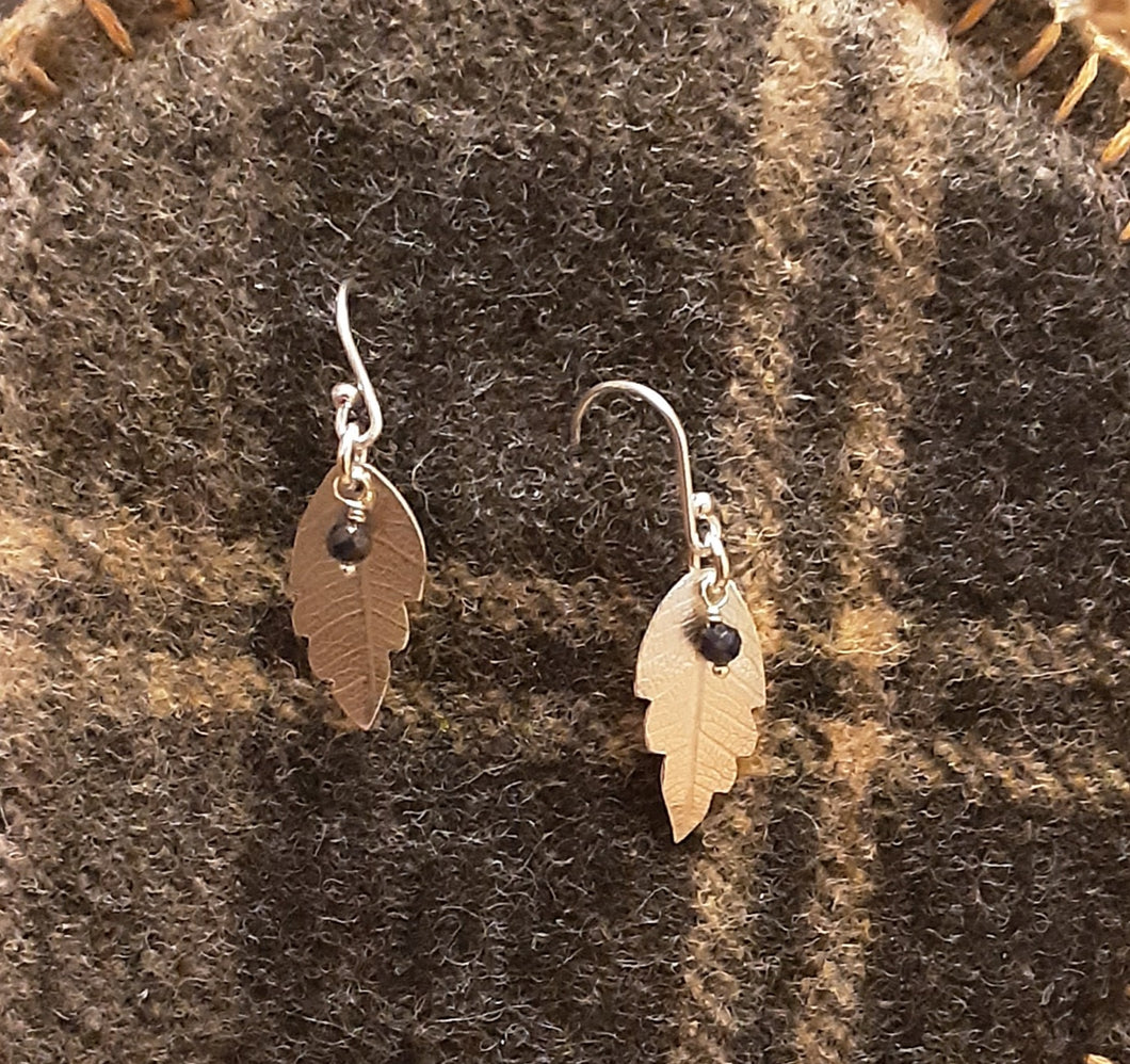 Leaf Earrings in recycled silver & Sapphire or Ruby