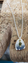 Load image into Gallery viewer, Recycled Silver Pebble Pendant with Semi Precious Stone