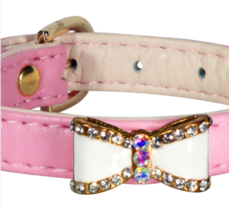 Hip Doggie Bow Collar Pink - Small