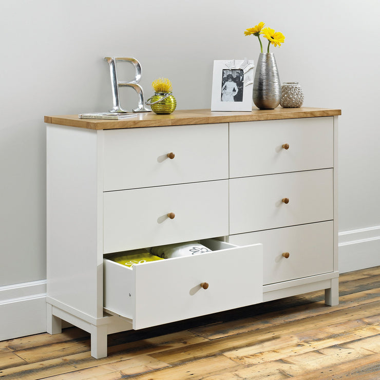 Pacific Two Tone 6 Drawer Wide Chest
