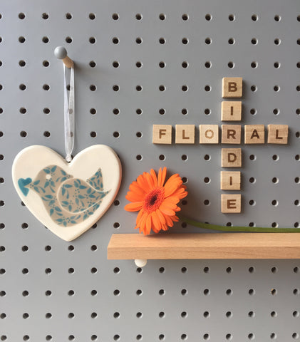 Floral Birdie with heart - Blue - Ceramic Heart