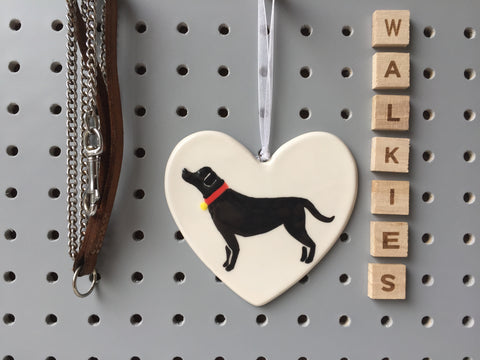 Black Labrador - Ceramic Heart