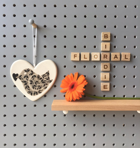 Floral Birdie with heart - Black - Ceramic Heart