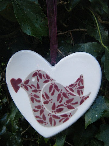 Floral Birdie with heart - Wine - Ceramic Heart