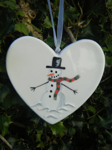 Frosty the snowman - Ceramic Heart