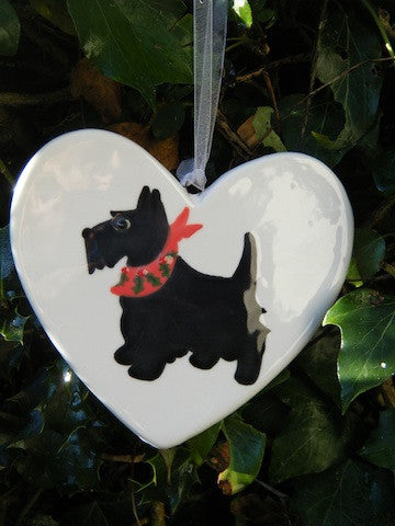 Scotty Dog with Holly Scarf - Ceramic Heart