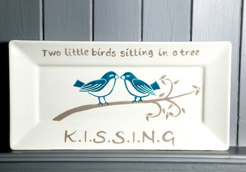 Two little birds - Ceramic rectangle plate