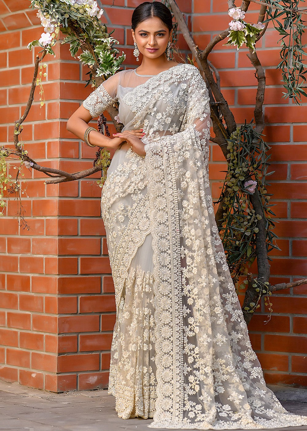 Net Thread and Dori Embroidered Saree with Unstitched Blouse