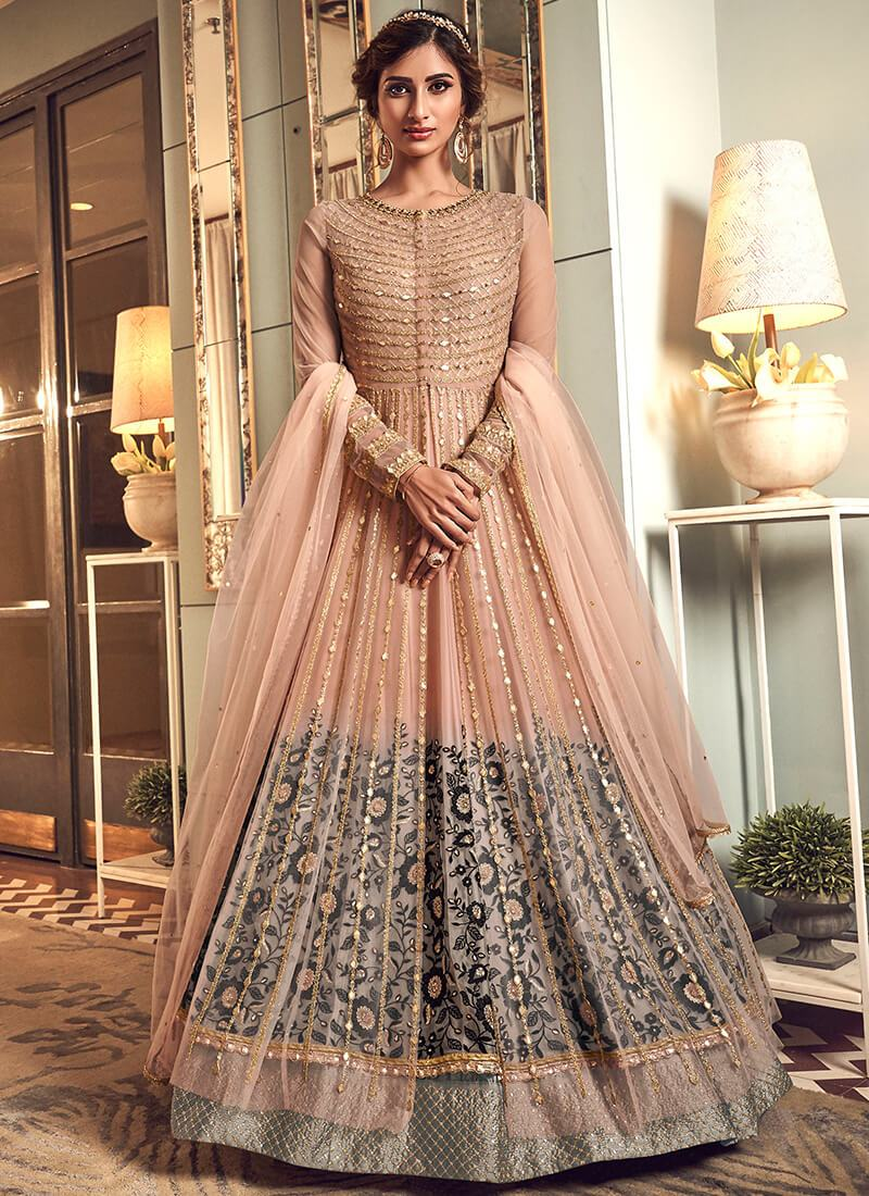 Full Sleeve Anarkali Style Lehenga in Light Pink