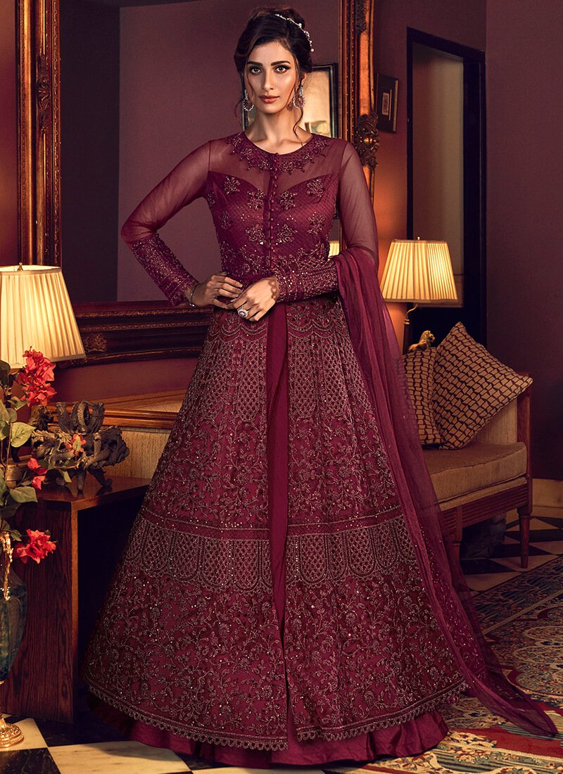 Full Sleeve Anarkali Style Lehenga in Red