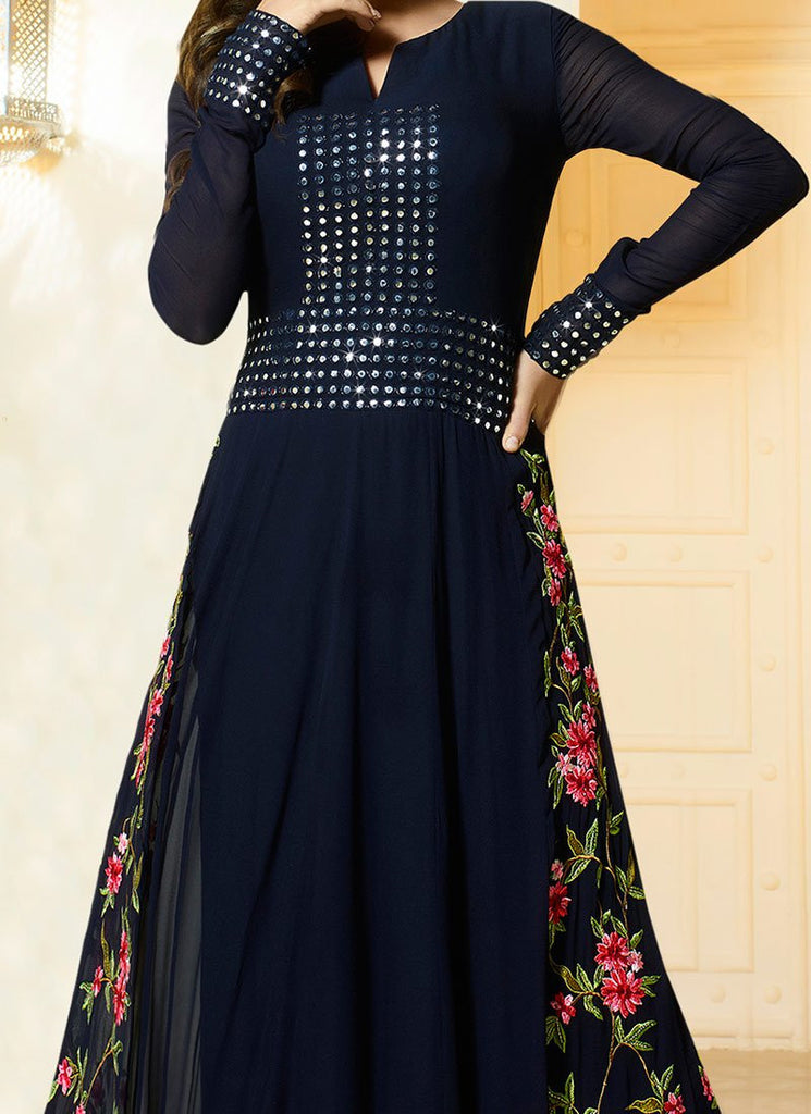 Faux Georgette Anarkali Suit in Black