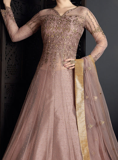 Embroidered Net Lehenga in Mauve