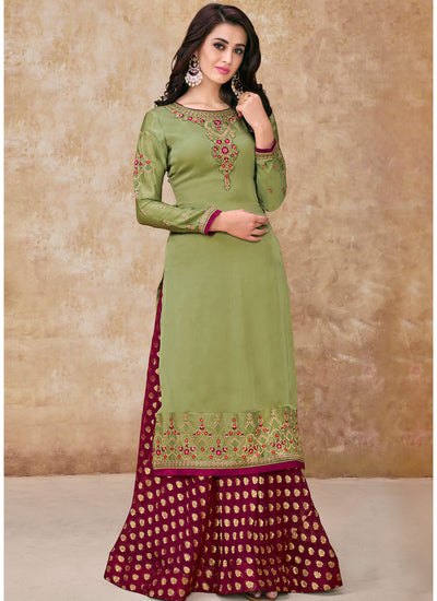 Green Satin Georgette Embroidered Kameez with Palazzo