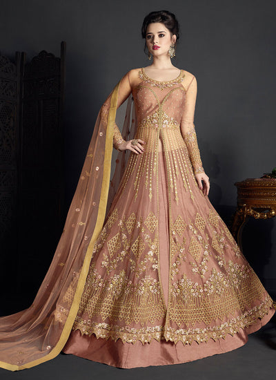 Embroidered Net Lehenga in Dark Mauve