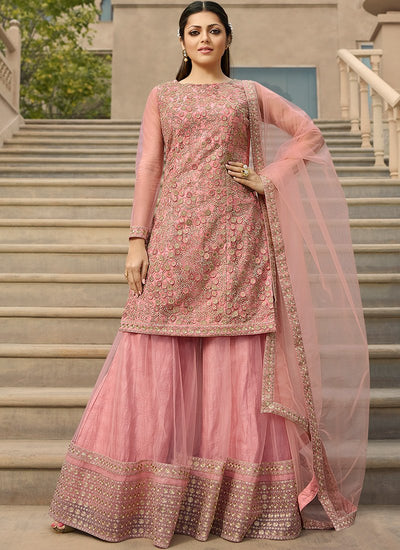 Net Embroidered Sharara Suit in Light Pink