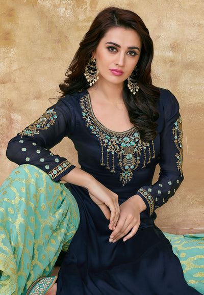 Navy Blue Satin Georgette Embroidered Sharara Suit