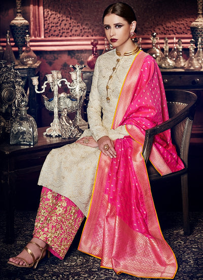 Embroidered Silk Palazzo Suit