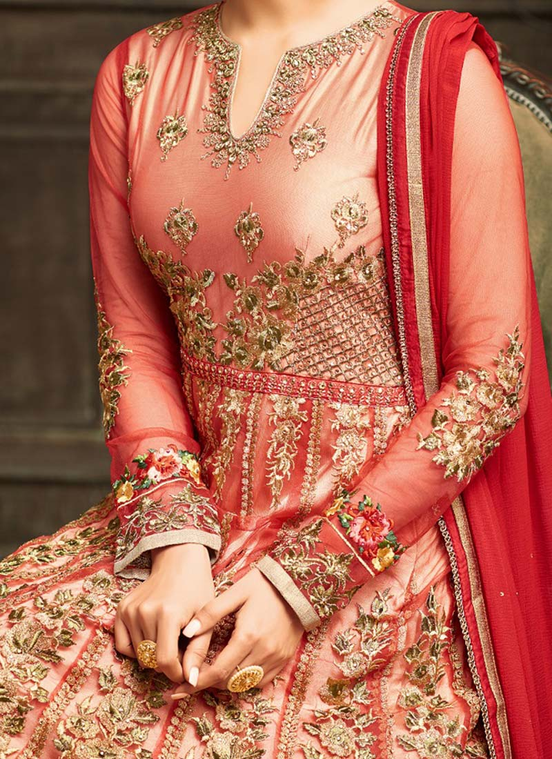 Full Sleeve Red Embroidered Net Wedding Anarkali