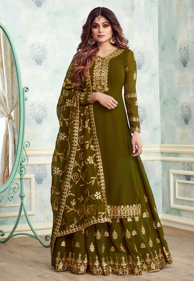Georgette Embroidered Kurti Style Lehenga in Green