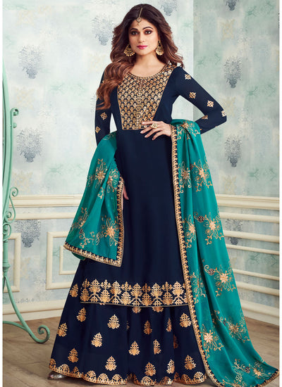 Blue Georgette Embroidered Kurti Style Lehenga