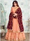 Georgette Embroidered Kurti Style Lehenga in Peach