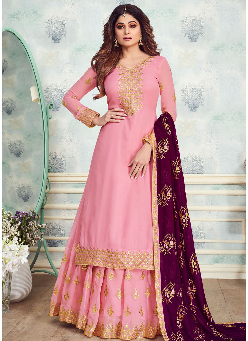 Georgette Embroidered Kurti Style Lehenga in Pink