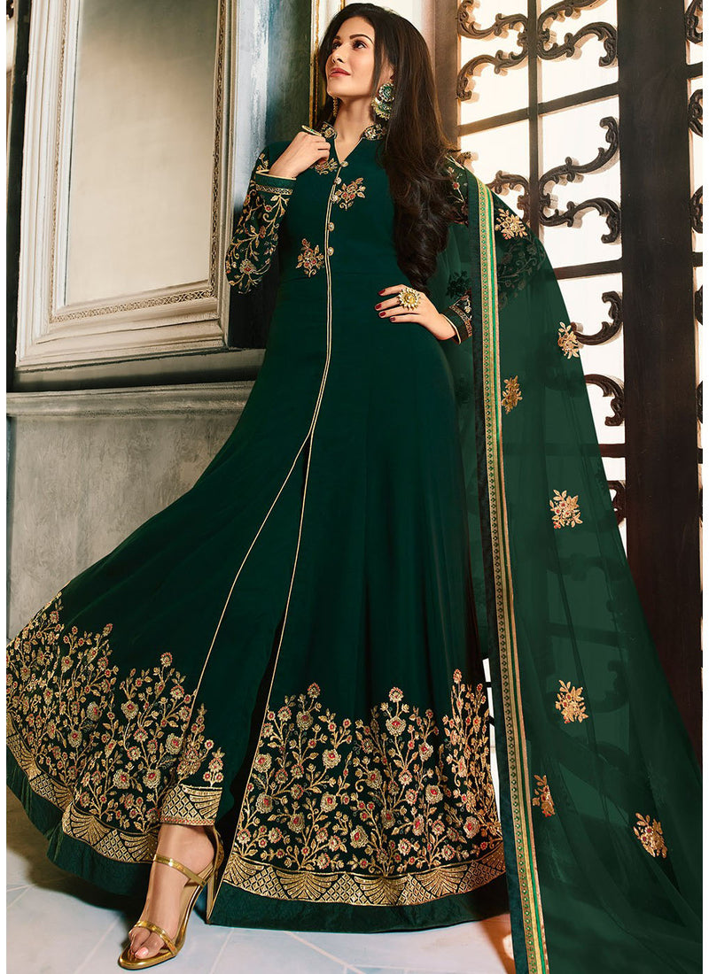 Dark Green Embroidered Front Slit Abaya Style Suit
