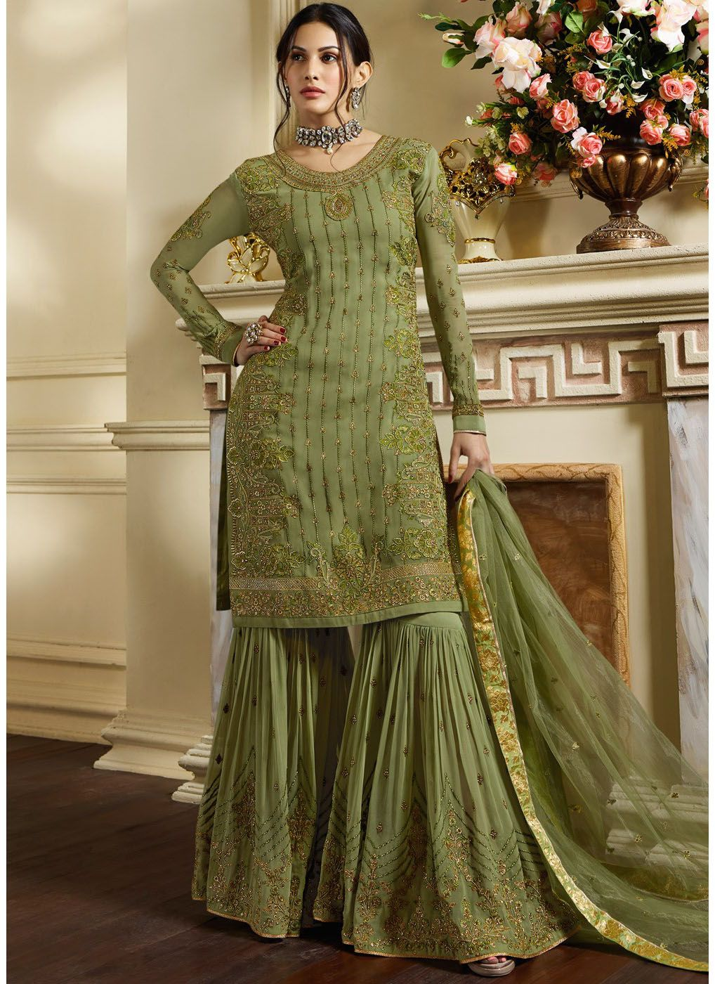 Green Full Sleeve Embroidered Georgette Sharara Suit