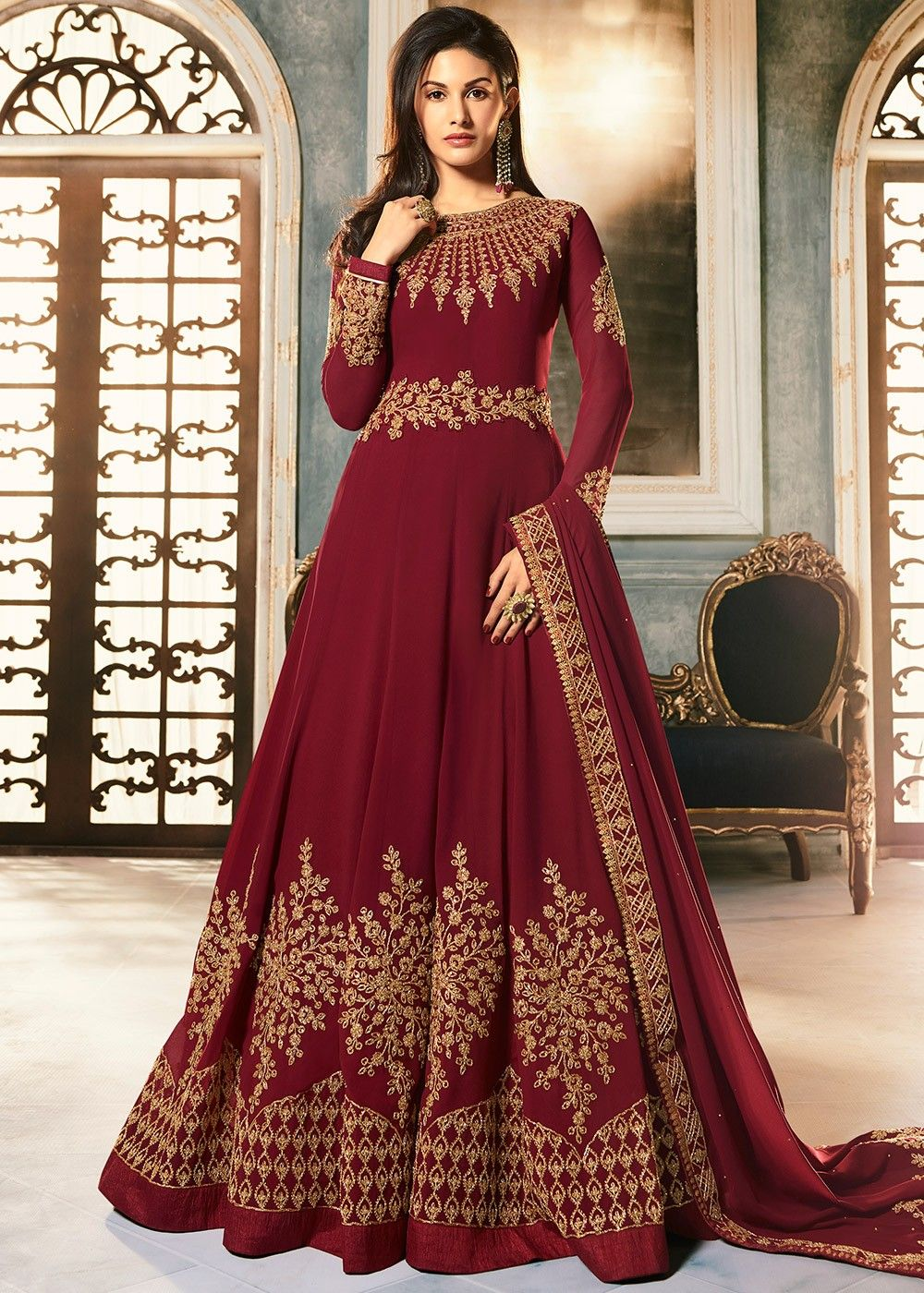 Maroon Embroidered Abaya Style Suit