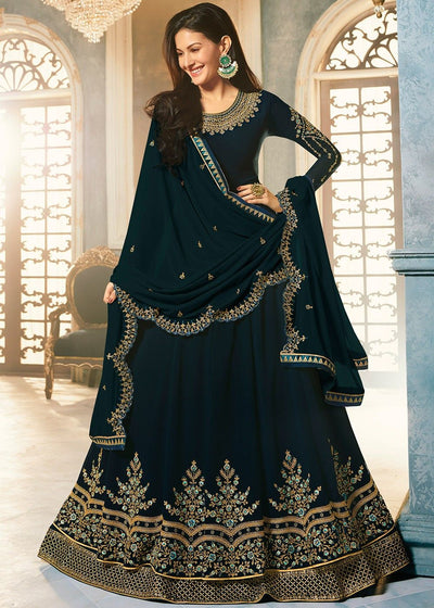 Navy Blue Floor Length Georgette Abaya Kameez