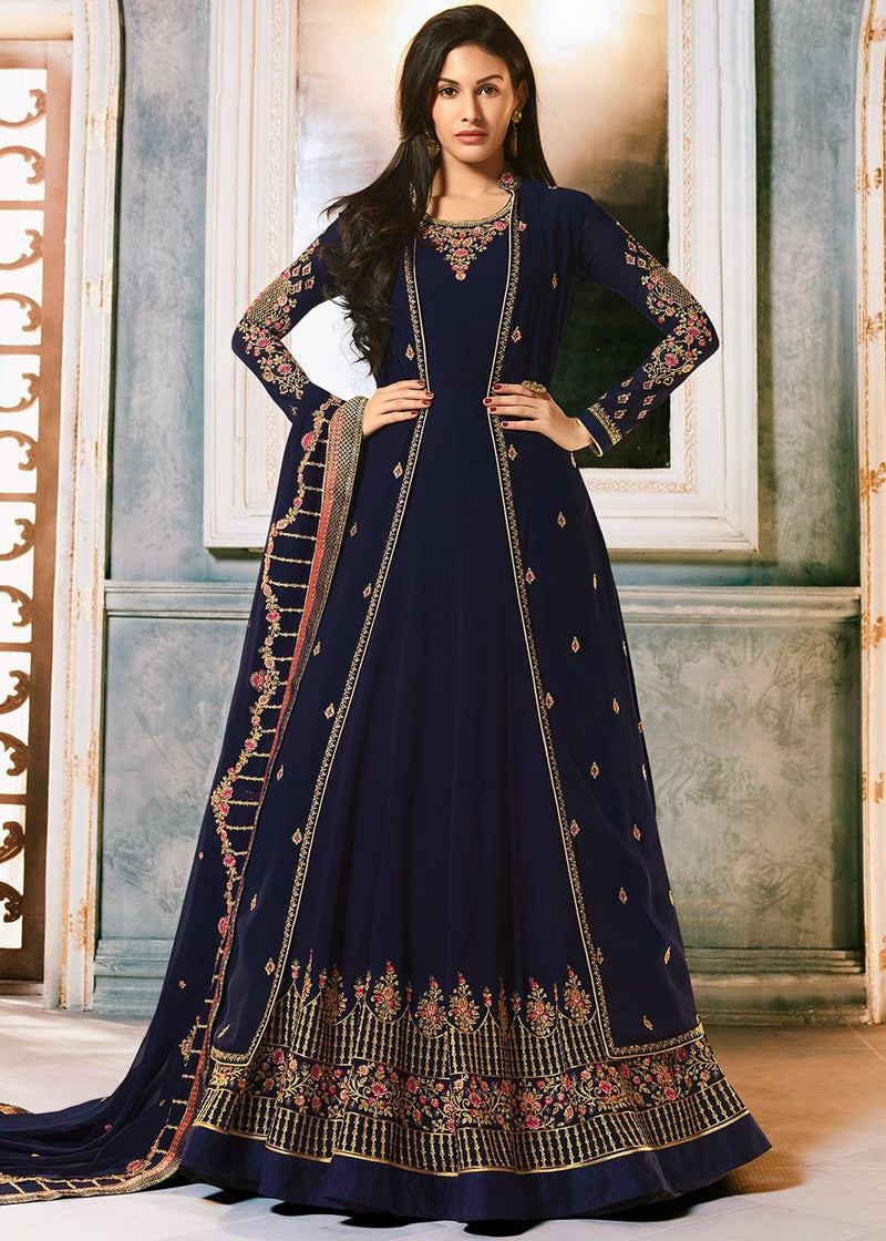 Jacket Style Abaya Kameez in Navy Blue