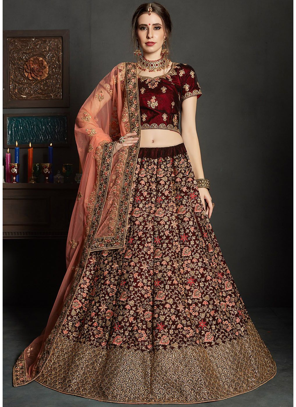 Embroidered Velvet Wedding Lehenga with Short Sleeve Choli