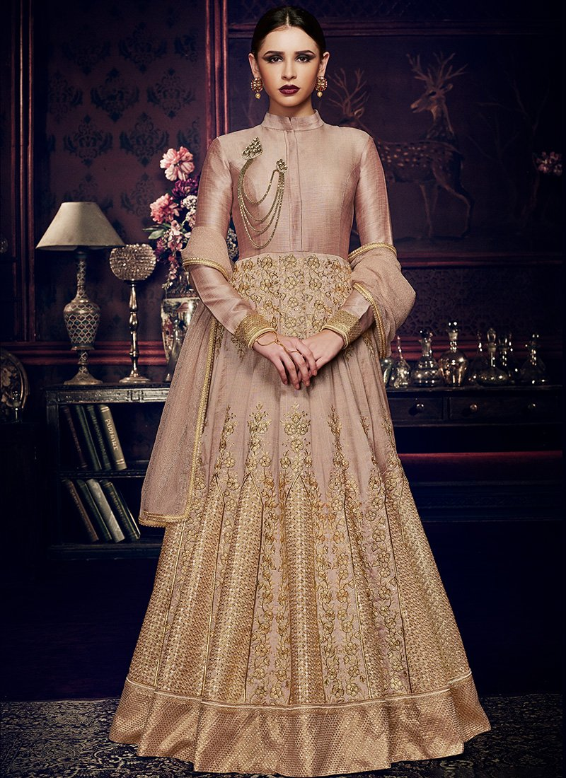 Embroidered Silk Floor Length Anarkali in Beige